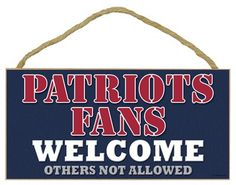 Decorative 10 x 5 Home Wooden Sports Teams Fans Welcome Wall Sign Plaque - NFL Football New England Patriots $12.95