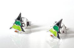 Small, x silver stud earrings with a four colour enamel tree design. Tree Designs, Christmas Jewelry, Studs, Enamel, Christmas Tree, Stud Earrings, Jewellery, Silver, Color