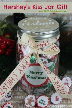 Hershey's Kiss Jar Gift with FREE Printable Labels- Perfect for just about anyone on your lists- We are giving them to teachers!