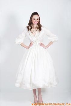 Robe avec manches 3/4 en satin robe de mariée avec manches