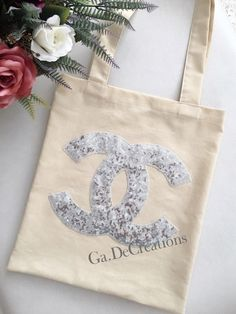 Handmade Chanel tote bag. Two colors black and beige.  Made from a cotton and sequins fabric. Please come to my instagram @de.ga.dal. )