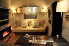 Love this vintage airstream remodel. Found on Mobile Home Living loved by me.