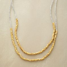 "GLISTENING MIX NECKLACE -- Crystalline glass seed beads twinkle in tandem with slivers of 12kt vermeil. Wrap twice or wear long. Hook clasp. Handcrafted in USA. Approx. 32-1/2""L."