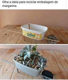 This is a cute summer fundraiser that your can do with kids dollartree skewers butter dish and 2 milk jug tops for the wheel Margarine Becher als Blumentopf Manualidades fran - My site Mini wheelbarrow made from plastic container. Use butter cup to make t Garden Crafts, Garden Projects, Home Crafts, Garden Ideas, Plant Crafts, Diy Garden, Garden Art, Fairies Garden, Fairy Garden Houses