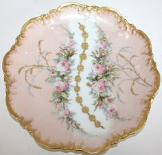 Antique French Limoges Pink Roses Plate, ca. Antique Plates, Vintage Plates, Vintage Dishes, Antique China, Vintage China, Fine Porcelain, Painted Porcelain, Hand Painted, Limoges China