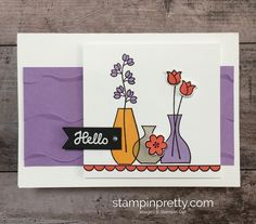 Create a simple Highland Heather card idea using Stampin Up Varied Vases Stamp Set and Vase Builder Punch - Mary Fish StampinUp