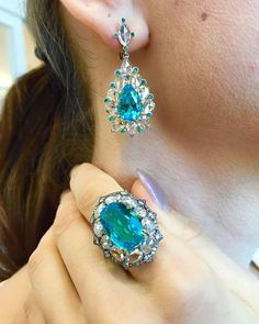 IVY New York Paraiba Glory ring and earring.