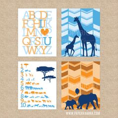 Safari Nursery, Modern Safari Nursery Art Print, Herringbone Chevron Art Wall Decor, 4 Print Set, Nursery, Kids Giclée Art Prints, N-G42-4PS
