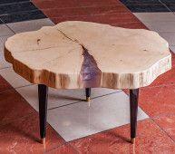 Паутина - журнальный столик в стиле лофт из массива ясеня на заказ