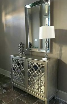 """Mirror, mirror, on the wall."" Just one gorgeous wall mirror can enhance and add depth to even the smallest of spaces, but layering in even more mirrored elements (like our Anderson Cabinet) takes luxe to the next level. Photo submitted by Entryway Decor, Bedroom Decor, Entryway Bench, Bedroom Ideas, Glass Bedroom Furniture, Entrance Table Decor, Metallic Painted Furniture, Mirrored Bedroom Furniture, Entryway Mirror"