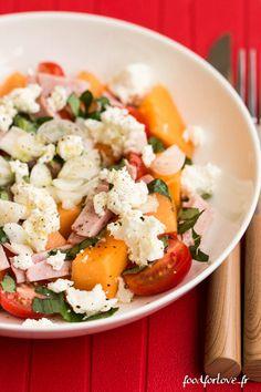 Salade de Melon au Jambon Blanc, Basilic et Carré Frais - Food for Love