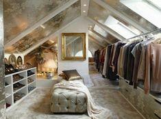 dressing sous pente vintage, penderie, placards et étagères de rangement chaussures, idée de dressing vintage