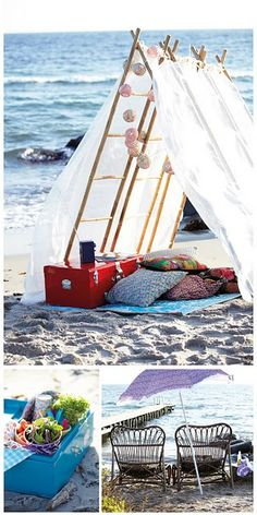 Picnic on the beach - tent - glamping Beach Tent, Beach Picnic, Beach Camping, Summer Picnic, Camping Cot, Garden Picnic, Picnic Spot, Luxury Camping, Camping Life