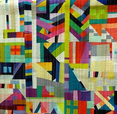 TheRabbitHole byNydiaKennley - love love love the matchstick machine quilting in varied colors, with the occasional surprise line of large scale hand quilting. Gorgeous!!!