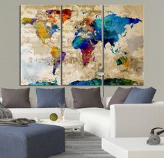 Canvas Art Print Watercolor World Map Contemporary 3 Panel Triptych Colorful Abstract Rainbow Colors Large Wall