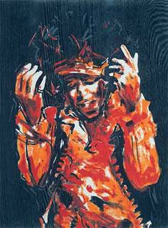 "Jimi Hendrix - 19.75""x14.75"" Multi Block Woodcut. '2005 Edt 175 AP 18 PP 9 See the Ronnie Wood Collection -www.rockstargalle...#ronniewood #rollingstones#rockstargallery"