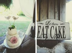 Rustic wedding cake and painted wooden sign, let them eat cake
