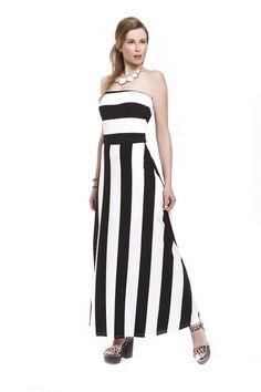 a7f9bd5a040c Φόρεμα ρίγα φαρδιά ελαστική σε γραμμή Α μακρύ στράπλες