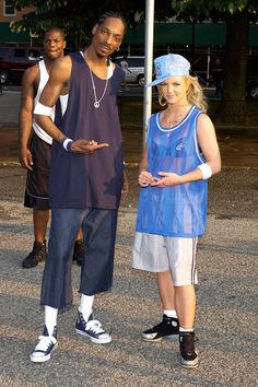 """Britney Spears & Snoop Dogg on the """"Outrageous"""" music video shoot."""