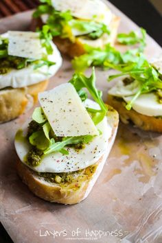 Rocket Pesto, Parmesan and Mozzarella Bruschetta