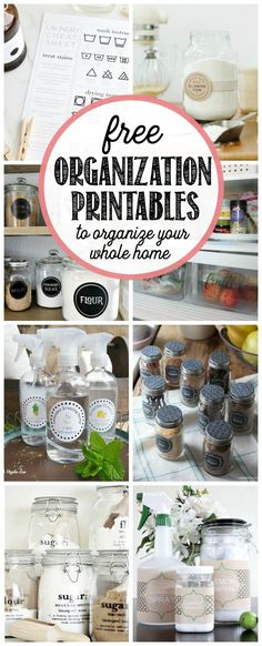 your whole home organized with this collection of free organization printables.Get your whole home organized with this collection of free organization printables. Organisation Hacks, Pantry Organization, Household Organization, Organizing Labels, Bathroom Organization, Bathroom Storage, Printable Organization, Pantry Ideas, Kitchen Storage