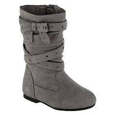 WonderKids- -Toddler Girl's Boot Alena - Grey Microsuede- Size 8Toddler