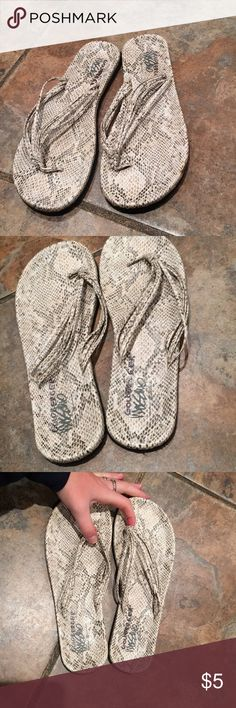 Mossimo snakeskin flip flops size 7 Excellent condition. Name in tag price will reflect. Size 7 Mossimo Supply Co Shoes Sandals