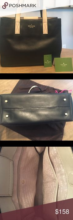 Kate Spade Handbag Kate Spade black and white handbag. Exterior has minimal damage, inside lining slightly worn. Originally purchased at Nordstrom. Dust cover bag included. kate spade Bags Shoulder Bags