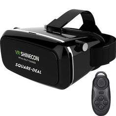 3D Virtual Reality Box Glasses VR SHINECON Black Bluetooth Control & Glasses USA