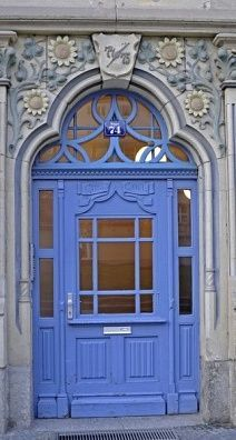 Erfurt, Thuringia, Germany- blue door with carved flowers above Cool Doors, Unique Doors, Knobs And Knockers, Door Knobs, Entrance Doors, Doorway, Door Entryway, Porte Cochere, When One Door Closes
