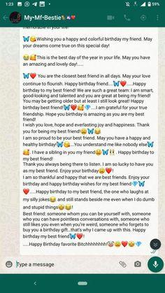 Happy Birthday Best Friend Quotes, Birthday Quotes For Best Friend, Happy Birthday Me, Real Friendship Quotes, Bff Quotes, True Quotes, Qoutes, Message For Best Friend, Caption For Best Friend