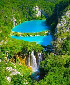 turquoise lake w/ waterfall: croatia
