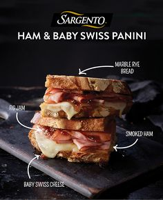 What do you get when you place our Sliced Baby Swiss Cheese, ham and fig jam between marble rye bread? The perfect lunch panini. This sweet and savory sandwich may look over-the-top, but it's actually a quick, easy-to-make meal for any day of the week. Get the complete recipe at Sargento.com.