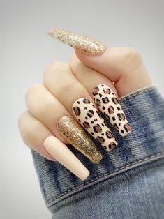 Cheetah Nails, Bling Acrylic Nails, Gold Glitter Nails, Purple Nails, Glue On Nails, Gel Nails, Stylish Nails, Trendy Nails, Cute Nails