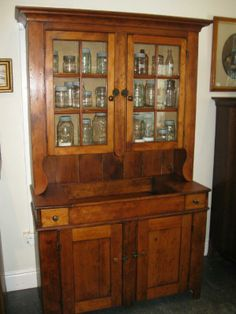 RARE ANTIQUE WATERLOO COUNTY PINE DRY SINK HUTCH.  www.landandross.com