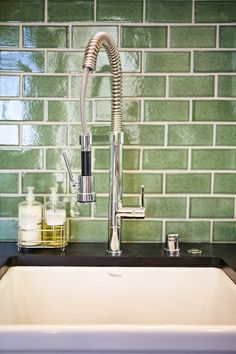 Green Subway Tile Looks Great With Black Counter