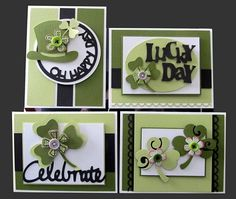 Gallery shot of card kit (Kit is no longer available. Inspiration only.) ... Saint Patrick's Day theme ... like the two shades of green with black and white ... die cut words ... heart shamrocks ... great set!! ...  Stampin' Up!