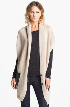 Knit Vest With Faux Leather Pockets Oatmeal Heather