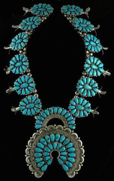 Sterling Silver and Turquoise Squash Blossom Necklace. Navajo.