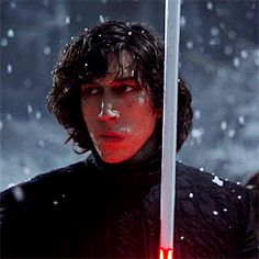 """Adam Driver during the filming of the Snow Fight scene of Star Wars: The Force Awakens """
