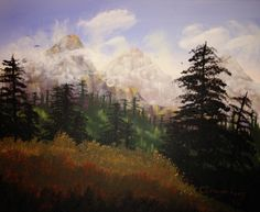 Teton Wonder, 16x20 acrylic, painted from a Jerry Yarnell book. 12/2014.