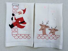 Vintage Christmas Towel Pair Applique & by unclebunkstrunk on Etsy
