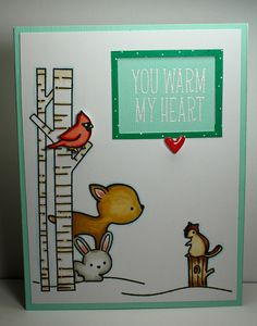 Lawn Fawn - Joy to the Woods, Snow Day, Into the Woods _ adorable critters card…