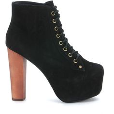 Jeffrey Campbell Boots ($140) ❤ liked on Polyvore featuring shoes, boots, ankle booties, nero, black suede boots, black suede bootie, short black boots, lace up booties and black booties
