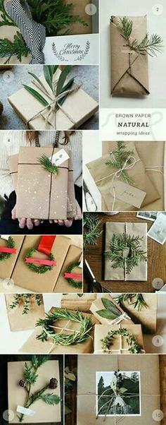 Kepp it natural this Christmas with brown paper and greenery embellishments