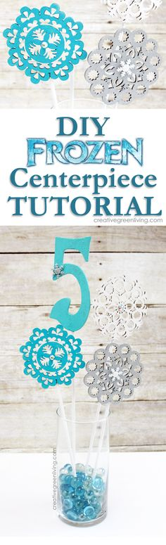 How to craft an easy Frozen birthday party centerpiece. I love that the snowflake wands double as party favors!