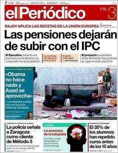 Los Titulares y Portadas de Noticias Destacadas Españolas del 3 de Septiembre de 2013 del Diario El Periódico ¿Que le pareció esta Portada de este Diario Español?