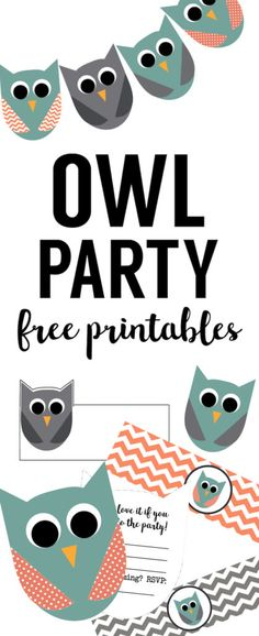 Free Owl Party Printables. Free DIY owl decor for an owl birthday party or owl baby shower. Free owl birthday printables and free owl baby shower printables.