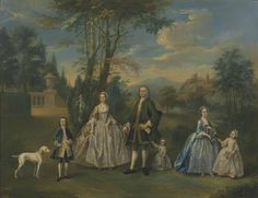 """""""A Family Group in a Landscape"""", unknown painter, ca. 1745; TC N05049"""