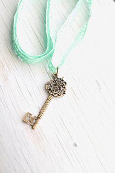 Skeleton Key Pendant  Mint green Lace Ribbon by WhiteLilyDesign